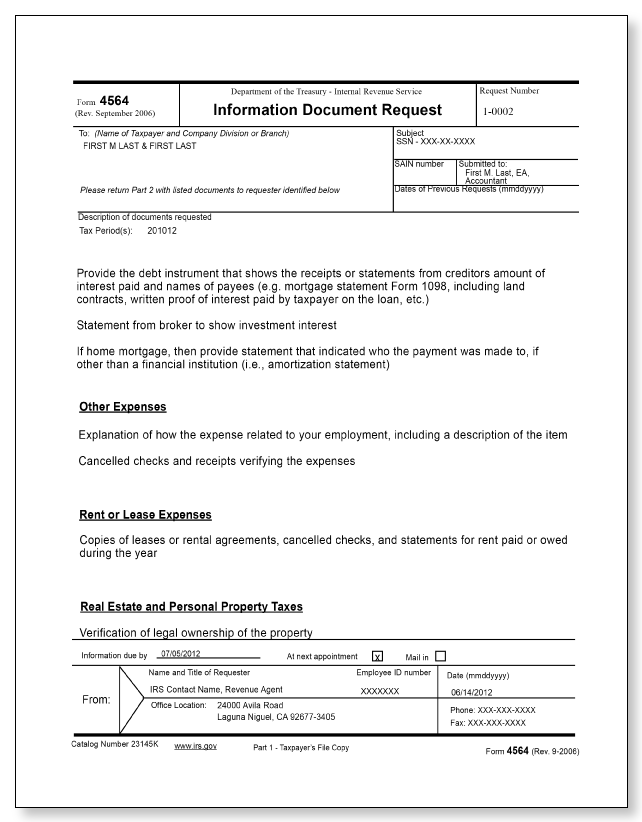 IRS Audit Letter 2205-A – Sample 4