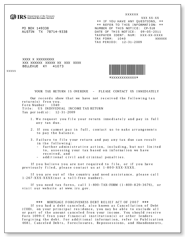 IRS Audit Letter CP518 – Sample 1