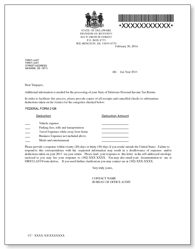 Delaware Division of Revenue Letter – Sample 1