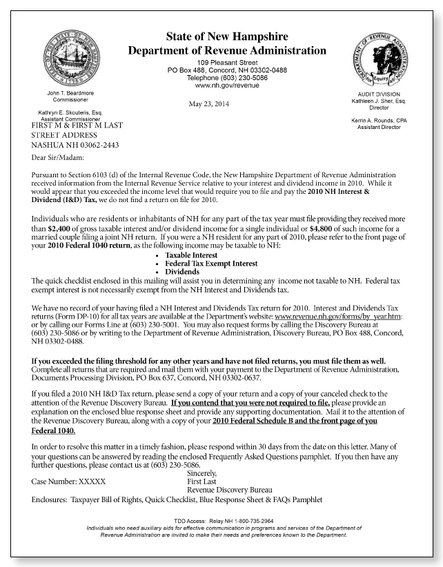 New Hampshire Department of Revenue Letter – Sample 1