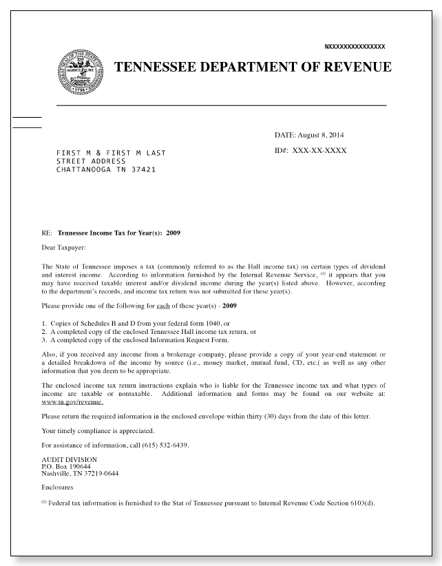 Tennessee Hall Income Tax Letter – Sample 1