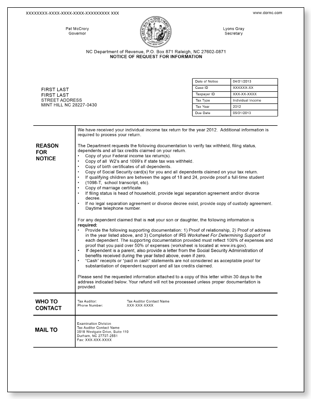 North Carolina Notice of Request for Information – Sample 3