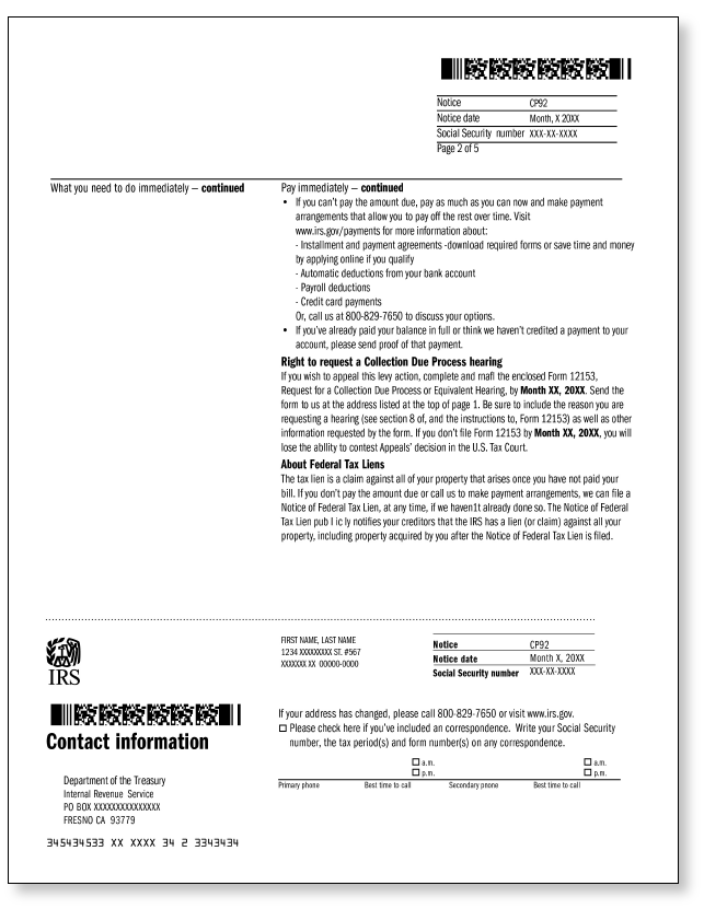 IRS Audit Letter CP92 – Sample 1