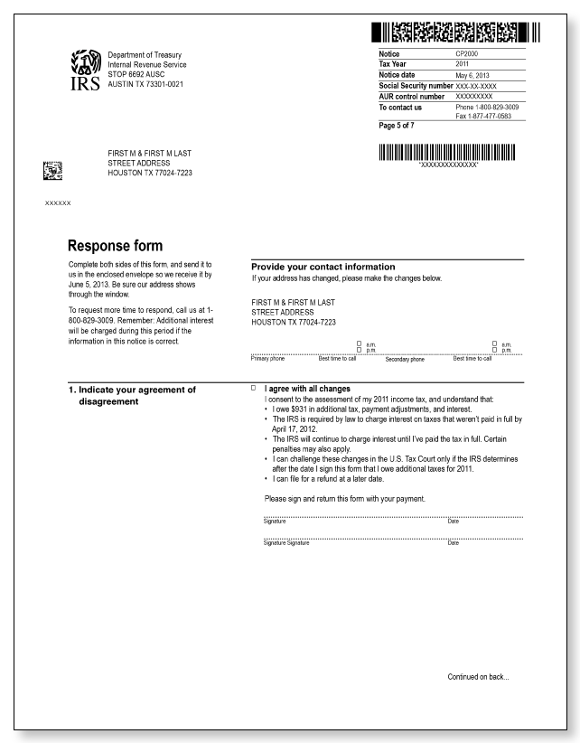 IRS Audit Letter CP2000 – Sample 3
