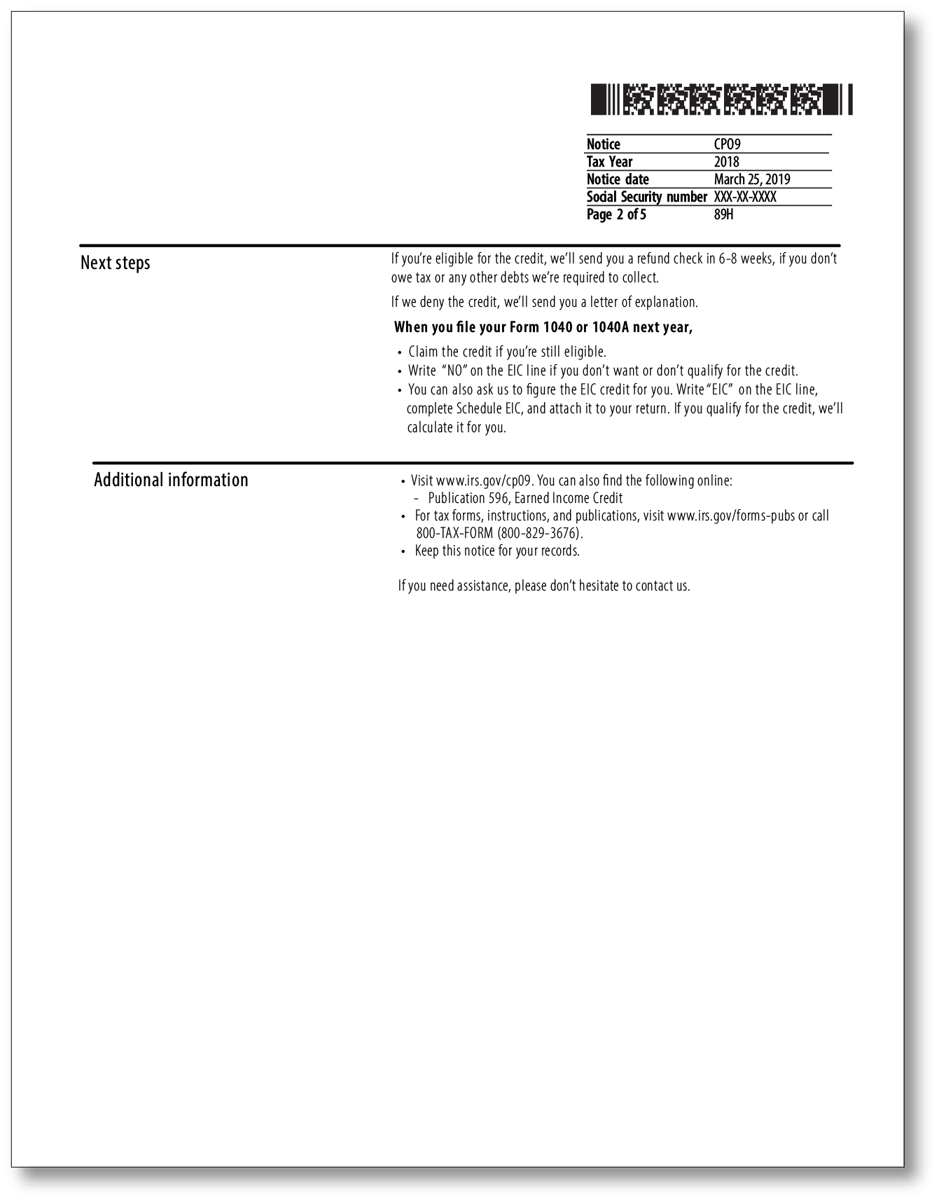 IRS Audit Letter CP09 – Sample 1
